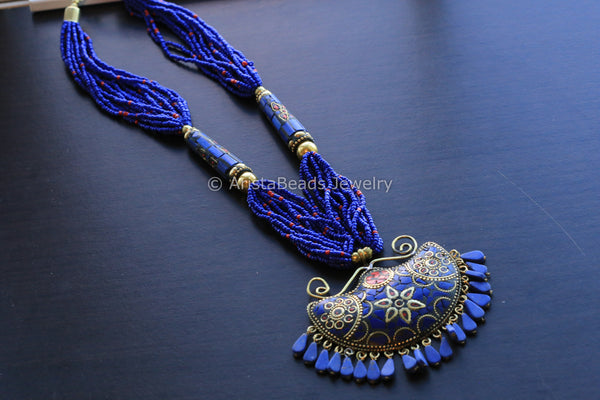 Blue Beaded Mosaic Pendant Necklace