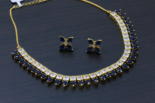 Delicate Blue  AD/ CZ Necklace