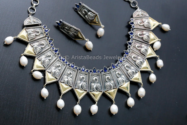 Blue Peacock Motif Dual Tone Necklace