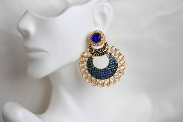 Contemporary CZ Chandbaali - AristaBeads Jewelry - 9
