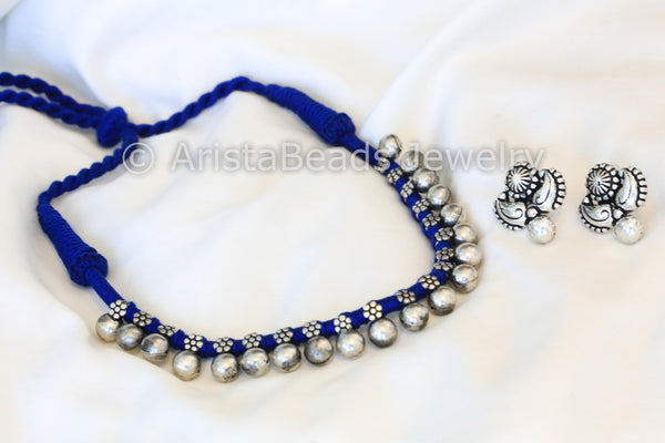 Silver Beaded Choker Necklace - Blue - AristaBeads Jewelry - 2