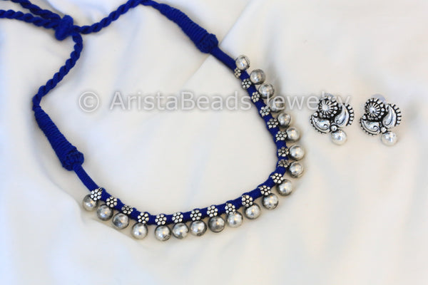 Silver Beaded Choker Necklace - Blue - AristaBeads Jewelry - 3