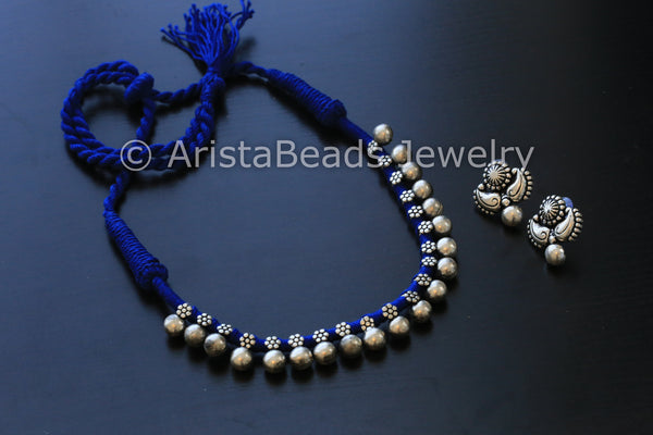 Silver Beaded Choker Necklace - Blue - AristaBeads Jewelry - 4