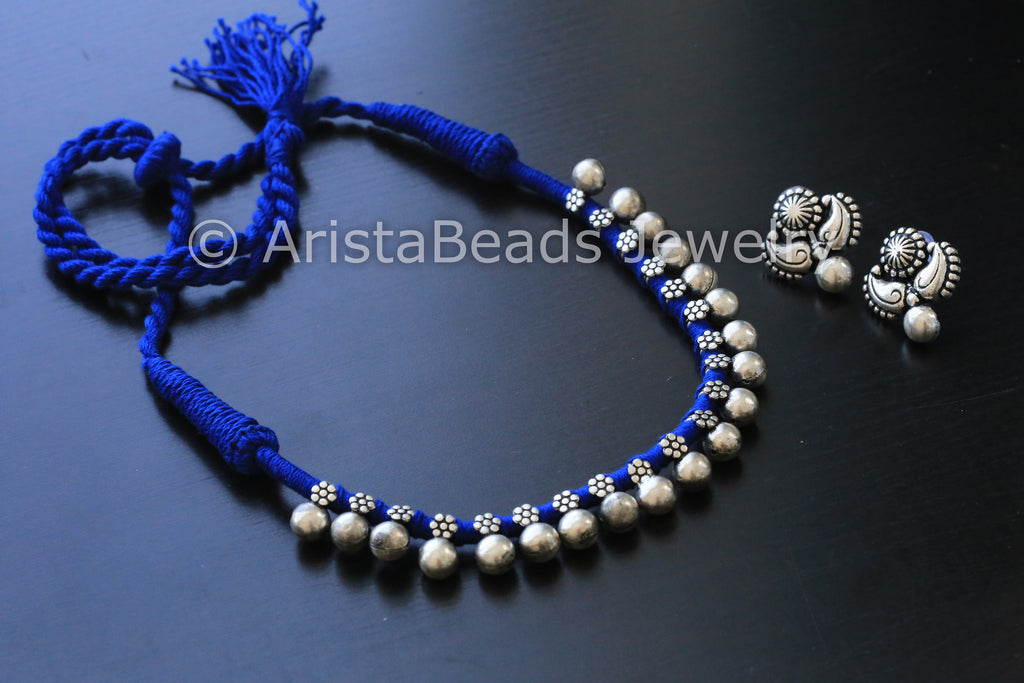 Silver Beaded Choker Necklace - Blue - AristaBeads Jewelry - 1