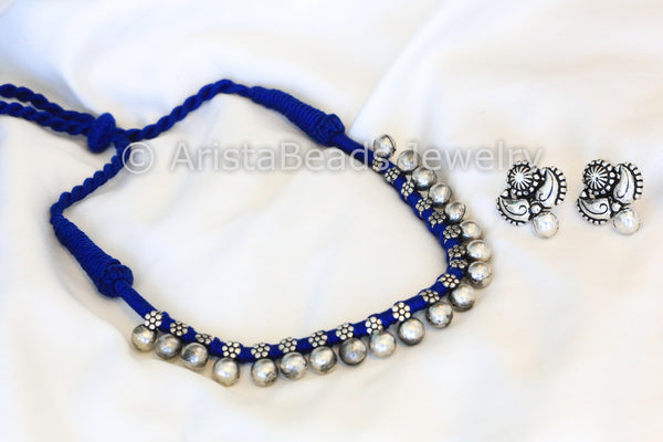 Silver Beaded Choker Necklace - Blue - AristaBeads Jewelry - 5