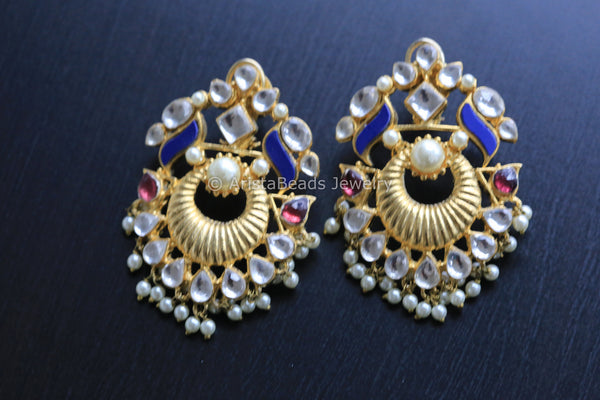 Lapis Kundan Chandbali Earrings