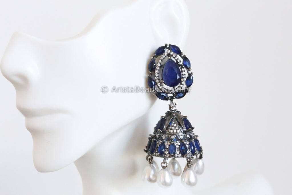 Oxidized Sapphire CZ Jhumka Earrings