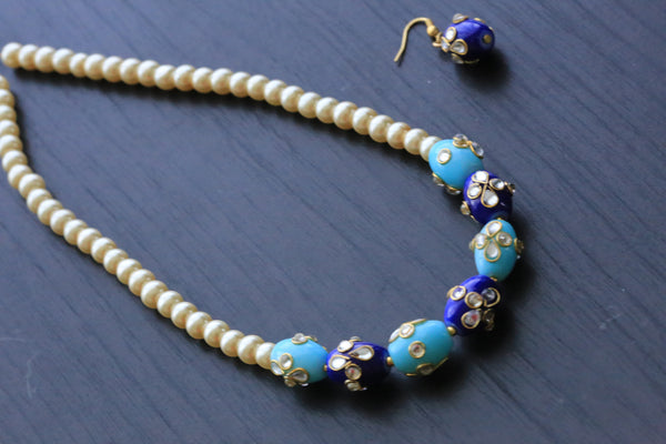 Blue Jaipur Beaded Necklace - AristaBeads Jewelry - 1