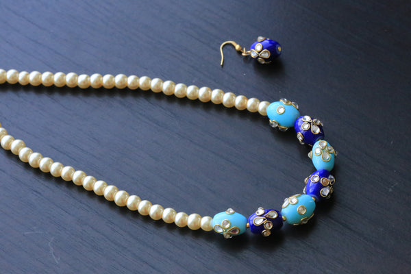 Blue Jaipur Beaded Necklace - AristaBeads Jewelry - 2