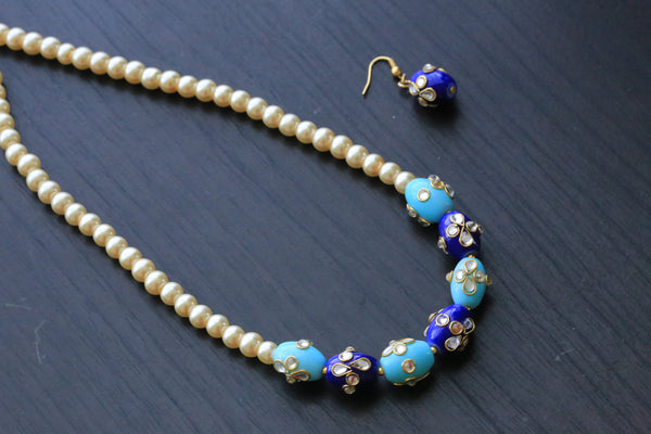 Blue Jaipur Beaded Necklace - AristaBeads Jewelry - 3