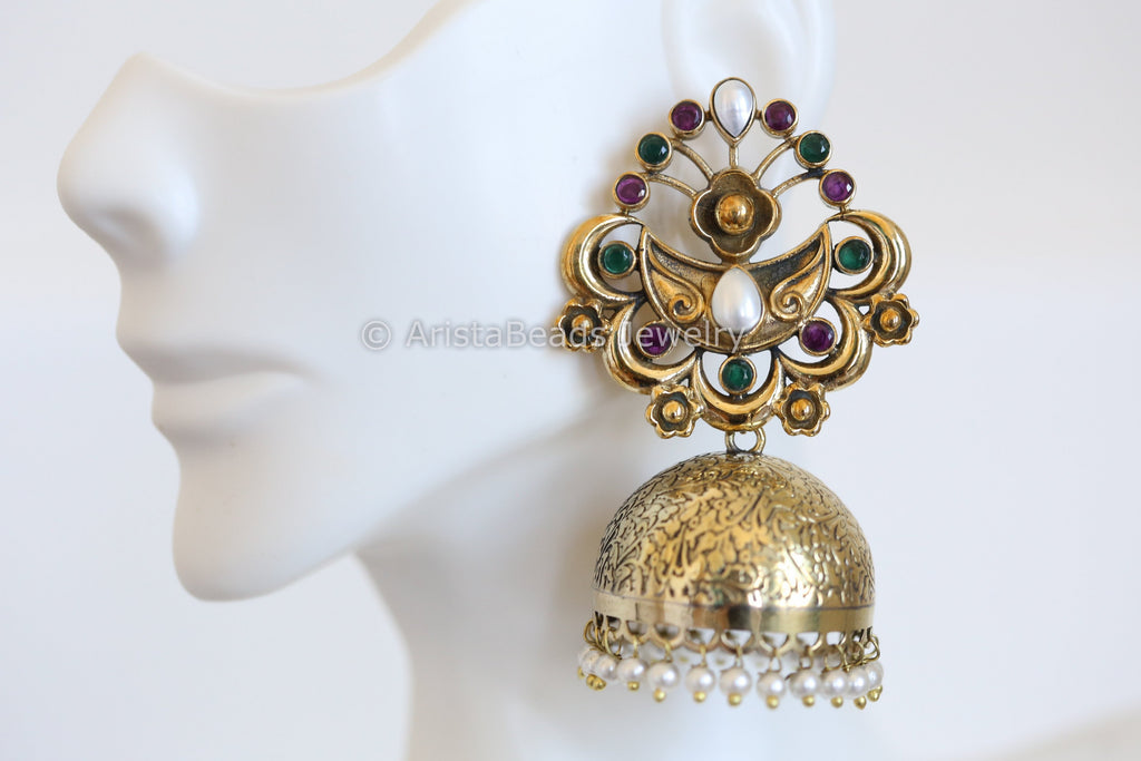 Large Antique Jhumka - Multicolor