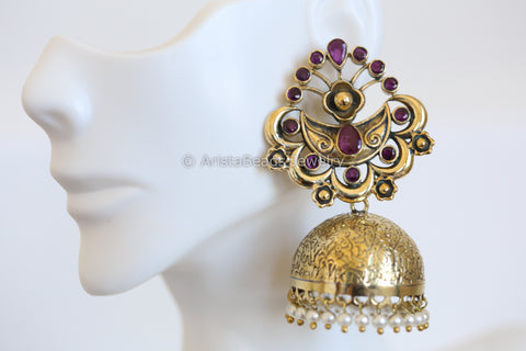 Large Antique Jhumka - Ruby