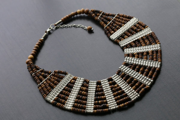 Layered Beaded Necklace -Brown