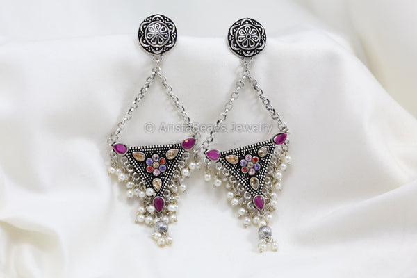 Long Silver Look Jhumka Chandbaali - Multicolor