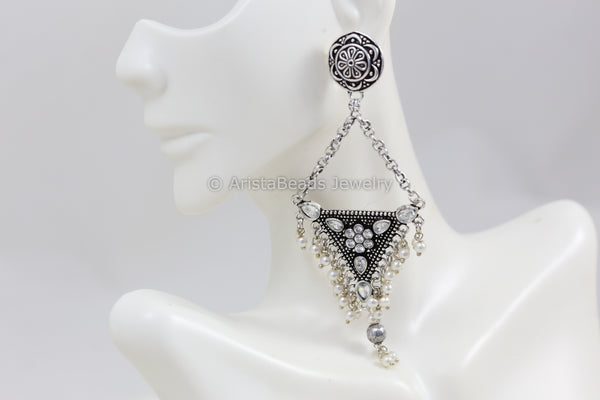 Long Silver Look Jhumka Chandbaali - Clear