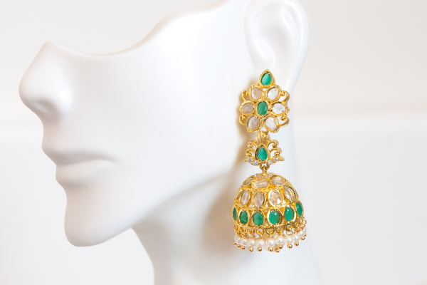 Green Layered Polki Jhumka