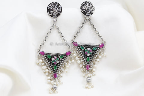 Long Silver Look Jhumka Chandbaali - Ruby Green