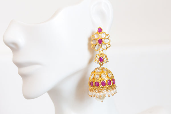 Ruby Layered Polki Jhumka