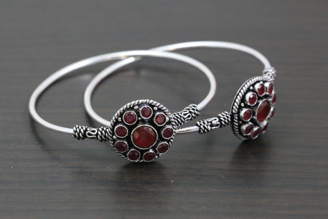 Silver Finish  Red CZ Bangle