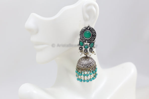 Green Silver Look Jhumka - Blue Drops