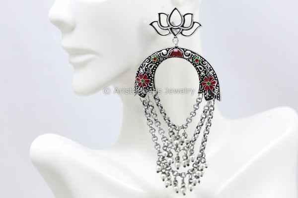 Silver Look Chandbaali - Red Green