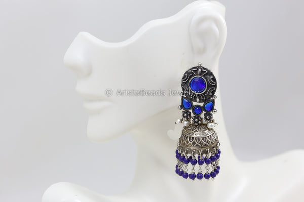 Blue Silver Look Jhumka