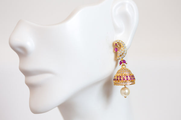 Cute Ruby Peacock CZ jhumka