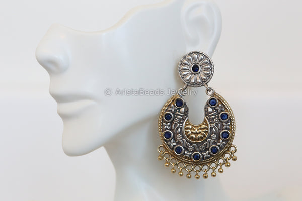 Blue Dual Tone Chandbali