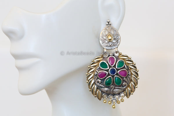 Multi color CZ Dual Tone Chandbaali