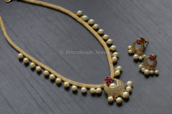 Delicate Ruby CZ Necklace Set