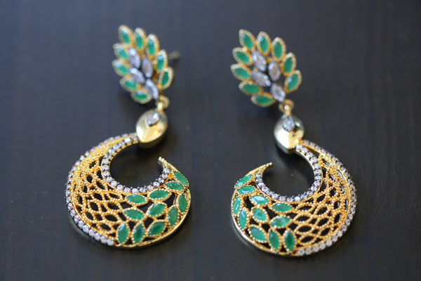 Contemporary Emerald  Designer Earrings