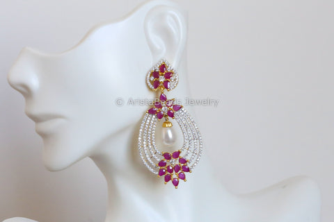 Delicate Ruby CZ Earrings