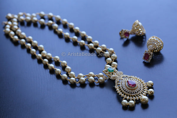 CZ Polki Peacock Necklace Jhumka Set