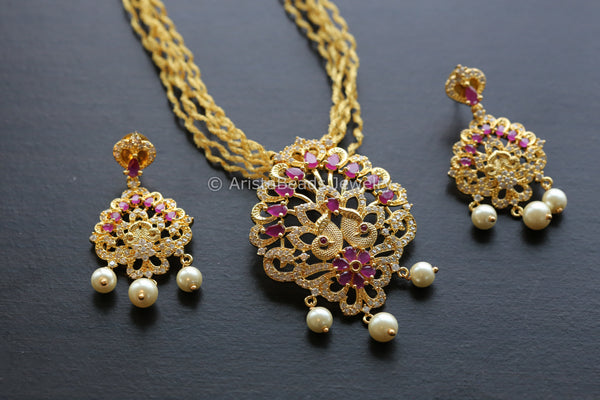 CZ Pendant Set in Layered  Chain