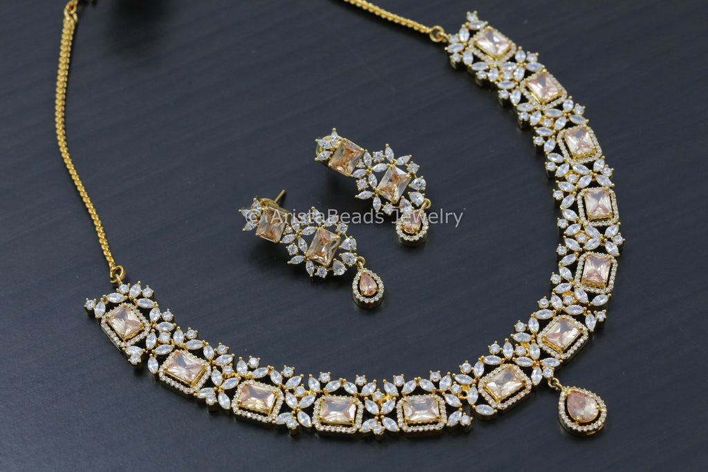 Champagne CZ Necklace