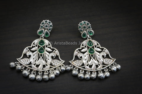 Emerald Polki  Silver Look Chandbaali