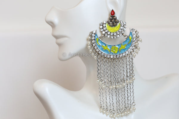 Layered Enamel Chandbaali - Green Blue