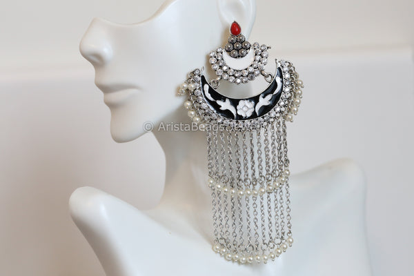 Layered Enamel Chandbaali -Black White