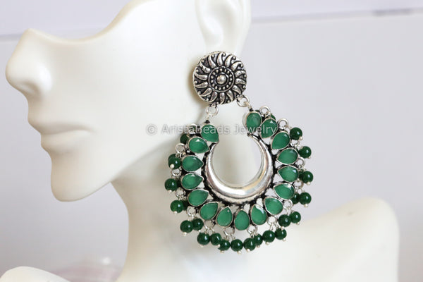 Silver Look Emerald Chandbaali