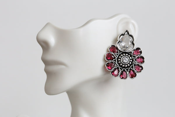 Polki Stud Earring - Clear and Pink Stones