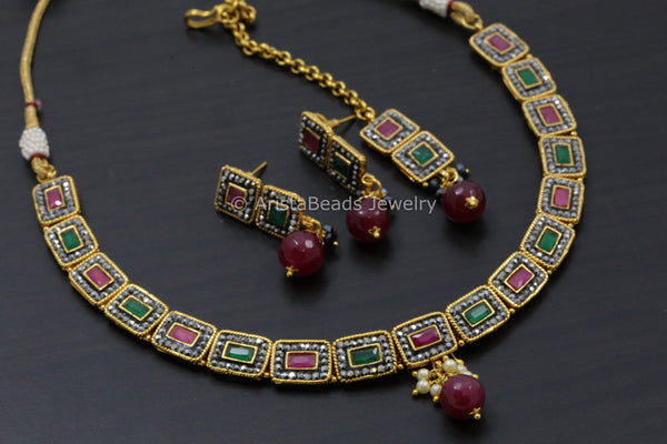 Contemporary Ruby Emerald Polki Necklace