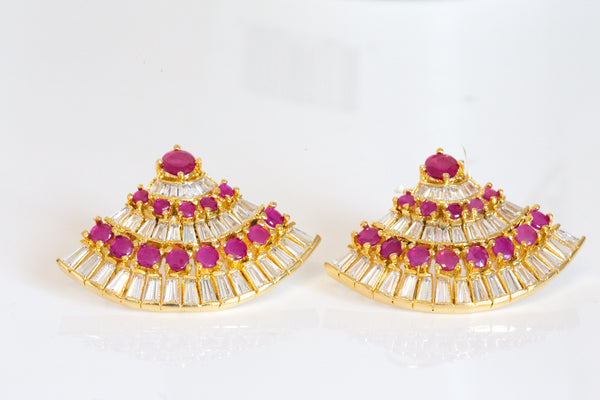 Contemporary Ruby CZ Earrings