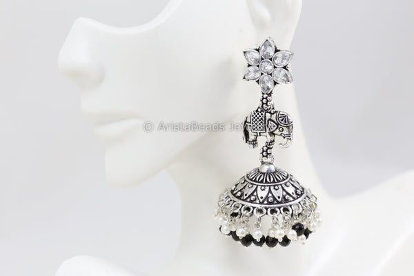 Long Elephant Jhumka - Black