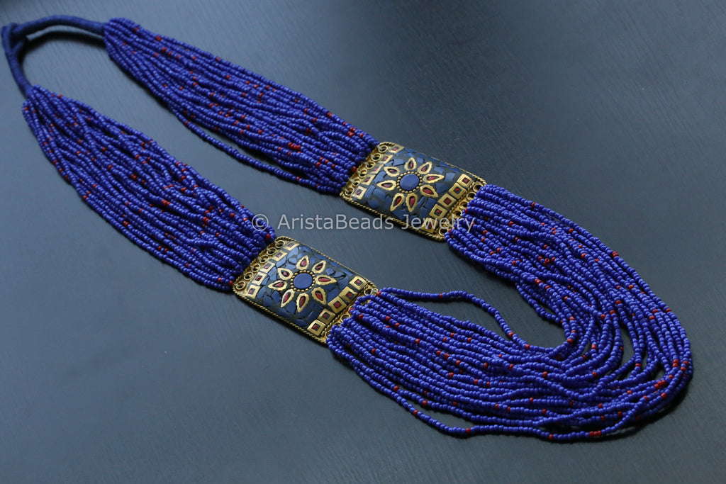 Dark Blue Beaded Tribal necklace