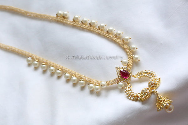 Delicate Ruby CZ Necklace