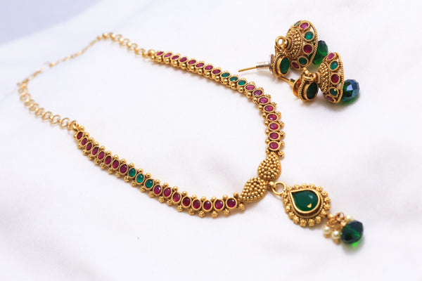 Delicate Antique Bollywood Indian Necklace - AristaBeads Jewelry - 2