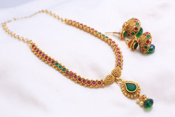 Delicate Antique Bollywood Indian Necklace - AristaBeads Jewelry - 1