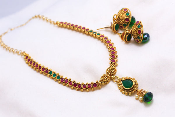 Delicate Antique Bollywood Indian Necklace - AristaBeads Jewelry - 3