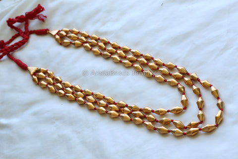Dholki beads Necklace - 3 lines
