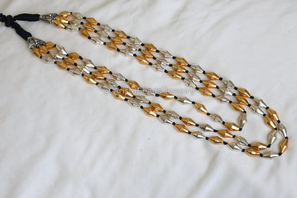 Dual Tone Dholki beads Necklace - 3 lines